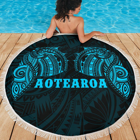 Beach Blanket NZ Aotearoa Maori Tattoo Blue K4 - 1st New Zealand