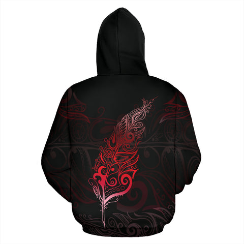 Image of Light Silver Fern New Zealand Hoodie Red K5 - 1st New Zealand