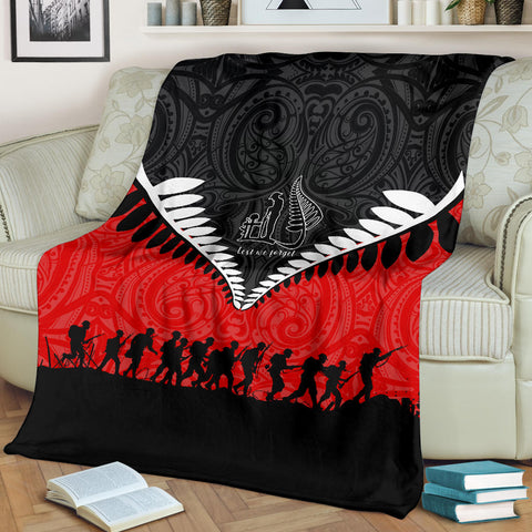 New Zealand Anzac Day Premium Blanket, Lest We Forget Silver Fern Red K4 - 1st New Zealand