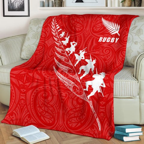 Rugby Haka Fern Premium Blanket  Red K4 - 1st New Zealand
