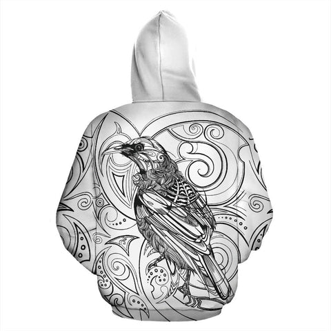 Image of New Zealand Tui Bird Hoodie Drawing back