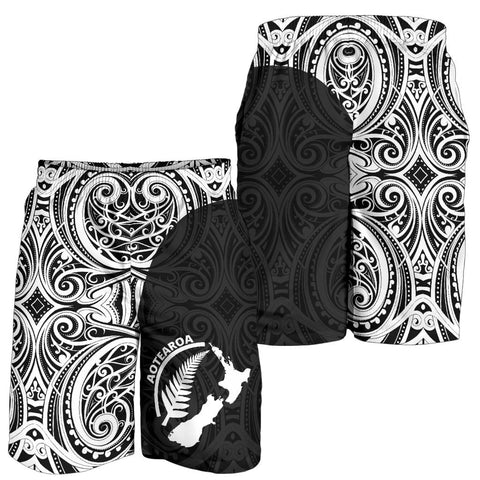 Image of Aotearoa Shorts, Silver Fern Maori Tattoo Men's All Over Print Board Shorts TH90 - 1st New Zealand