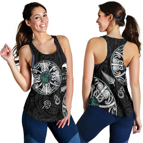 Image of New Zealand Aotearoa Women Racerback Tank, Maori Mangopare Paua Shell Pullover K4 - 1st New Zealand