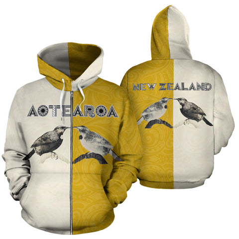 Aotearoa Tui Bird Hongi Zip Up Hoodie front and back