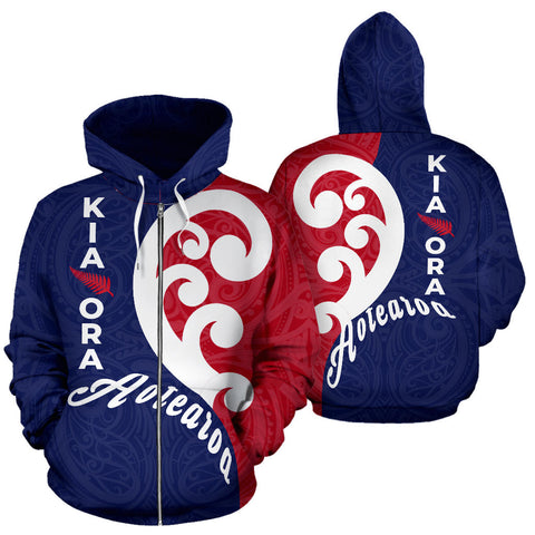 Kia Ora Aotearoa With Koru Zip Hoodie - Red Navy Color - For Man And Woman