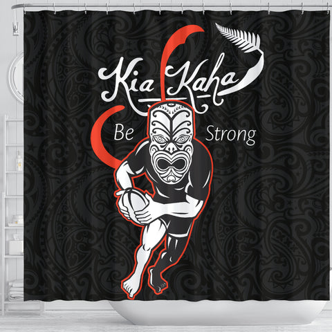 Rugby Kia Kaha Be Strong Shower Curtain Black Ver.2 K40