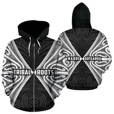 Maori Aotearoa Tribal Roots Zip Up Hoodie White K4 - 1st New Zealand