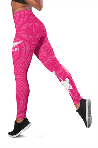 Image of Rugby Haka Fern Leggings Pink K4 - 1st New Zealand