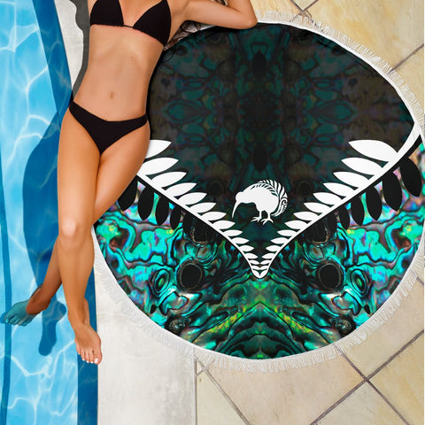 Kiwi Fern Beach Blanket Paua K4 - 1st New Zealand