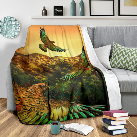 New Zealand Kea Bird Flying at Sunset Premium Blanket K4 - 1st New Zealand