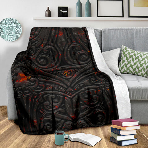 Image of New Zealand Warriors Premium Blanket Maori Tiki Vocalno Style Th00 - 1st New Zealand