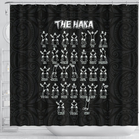 Image of Rugby Haka Dance Shower Curtain Black K40