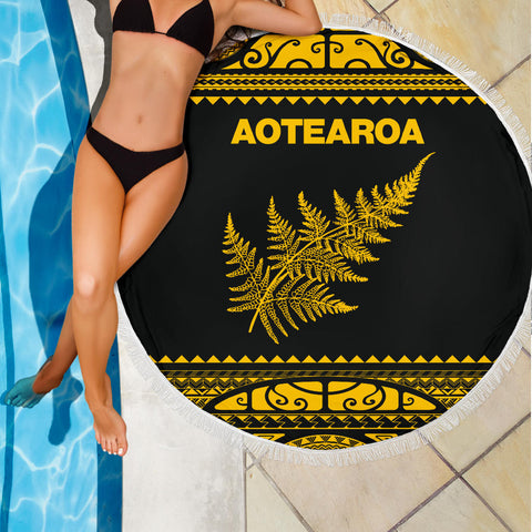 Beach Blanket NZ Aotearoa Silver Fern Yellow K4 - 1st New Zealand
