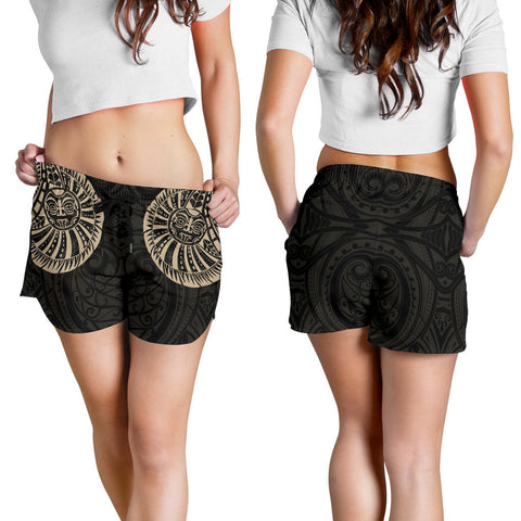 New Zealand Maori Warrior Tattoo Women Shorts - Tan K5 - 1st New Zealand