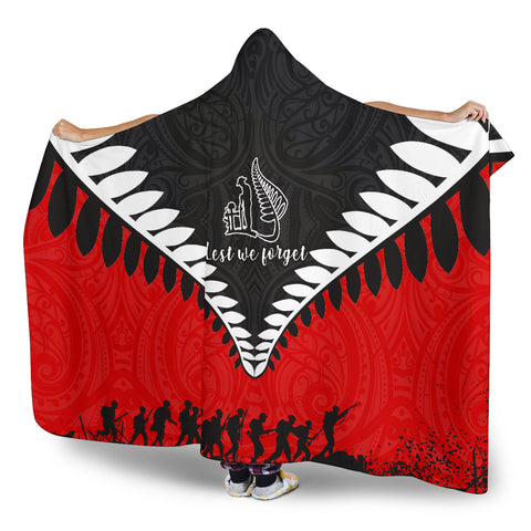 New Zealand Lest We Forget Hooded Blanket Black Red K4 - 1st New Zealand