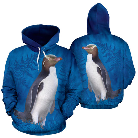 New Zealand Bird Hoodie, Hoiho Yellow Eyed Penguin Pullover Hoodie K4 - 1st New Zealand