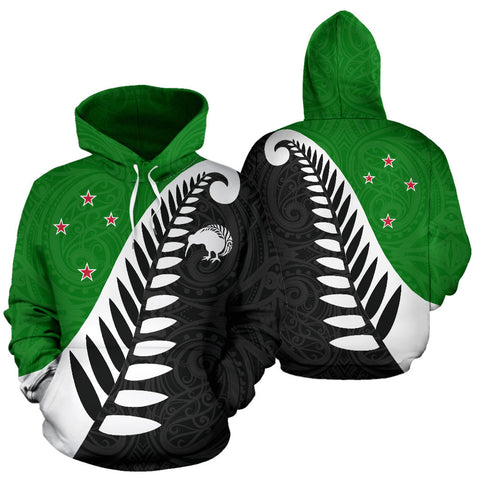 Koru Fern New Zealand Hoodie Green - Green And Black Color - For Man And Woman