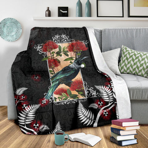 Tui Pohutukawa New Zealand Blanket - Black K5 - 1st New Zealand