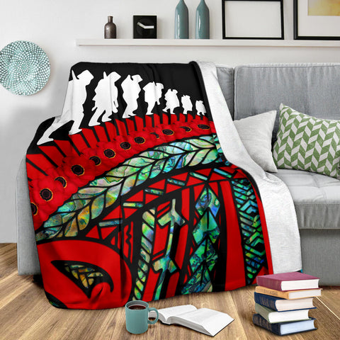 Anzac New Zealand Blanket, Poppies Lest We Forget Maori Premium Blanket Soldiers Paua K4 - 1st New Zealand