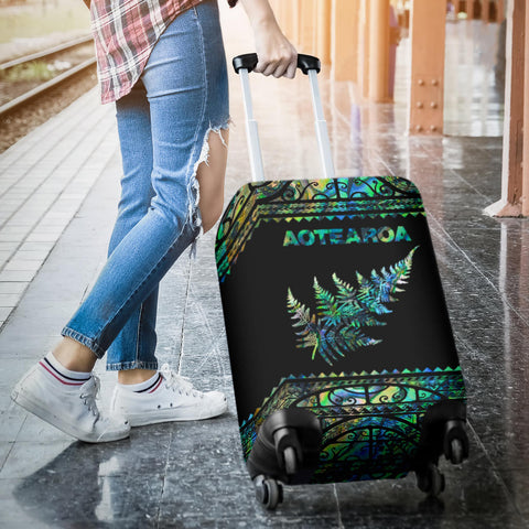 Image of New Zealand Luggage Cover, Aotearoa Maori Silver Fern Suitcase Covers K4x - 1st New Zealand