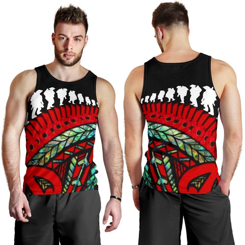 Anzac New Zealand Men Tank Top, Poppies Lest We Forget Maori Soldiers Paua K4 - 1st New Zealand
