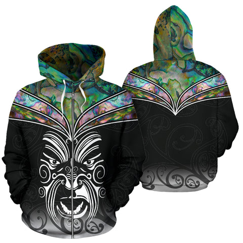 New Zealand Paua Shell with Maori Face Zip Up Hoodie K4 - 1st New Zealand