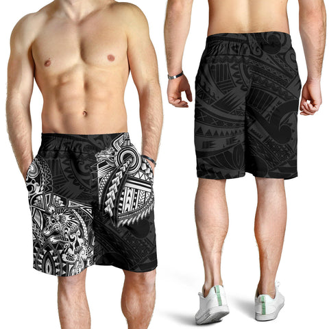 New Zealand Maori Polynesian Wolf Dragon Tattoo Men Shorts - White K4