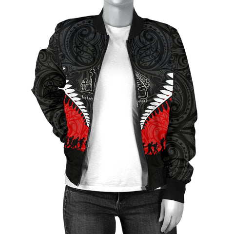 Image of New Zealand Anzac Day Women Bomber Jacket, Lest We Forget Silver Fern Red K4 - 1st New Zealand