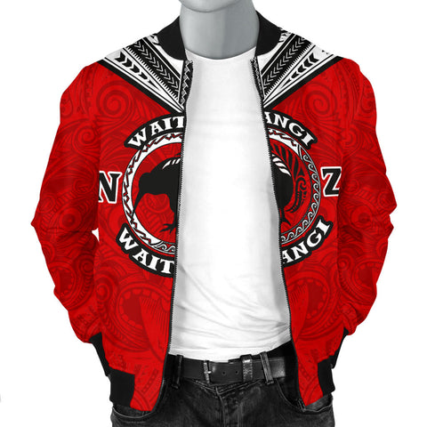New Zealand Maori Men Bomber Jacket Waitangi Day - Red K5 - 1st New Zealand