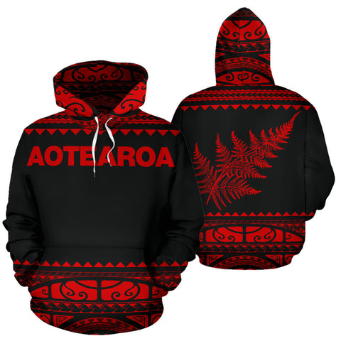 Image of New Zealand Maori Hoodie, Aotearoa Silver Fern Pullover Hoodie - Red K4x - 1st New Zealand