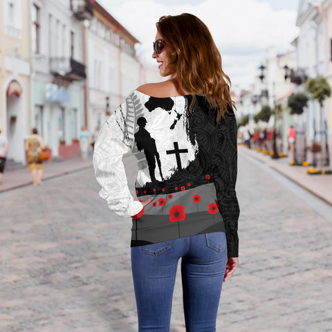 Anzac Day Off Shoulder Sweater, New Zealand Australia Lest We Forget K4 - 1st New Zealand