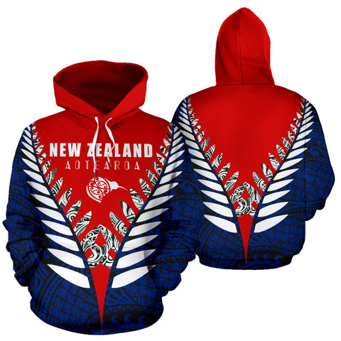 New Zealand Aotearoa Silver Fern Hoodie - Red Blue Vline Version front and back