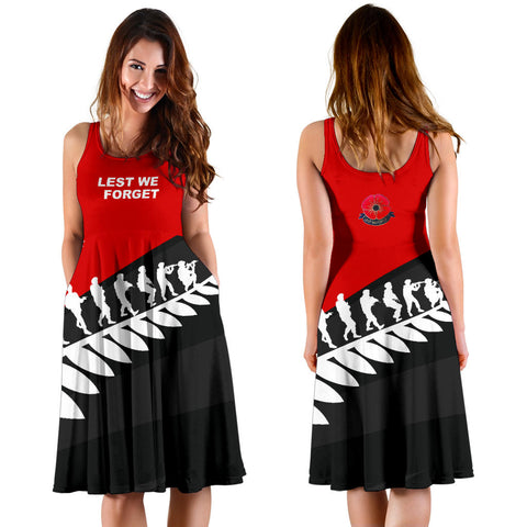 Lest We Forget Black and Red Midi Dress K5 - 1st New Zealand
