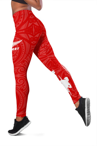 Image of Rugby Haka Fern Leggings Red K4 - 1st New Zealand