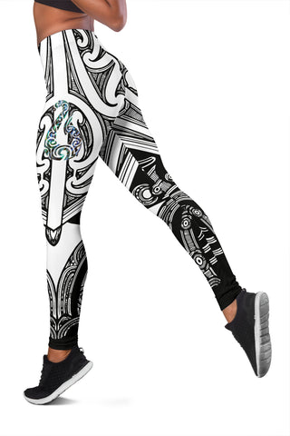 Maori Tattoo Women Leggings Hei Matau Abalone White K4 - 1st New Zealand
