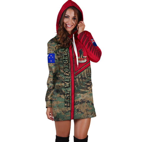Anzac New Zealand Women Hoodie Dress  Lest We Forget Camo - Road to Peace K4 - 1st New Zealand