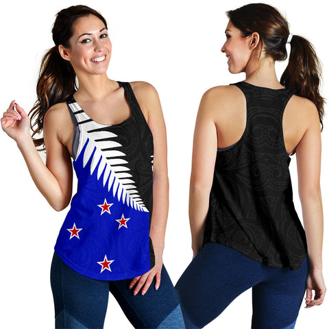 New Zealand Silver Fern Women's Racerback Tank Flag Style Th5 - 1st New Zealand
