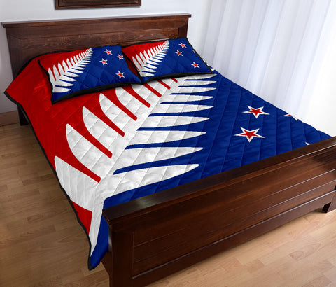 New Zealand Flag Silver Fern Red, White and Blue Quilt Bed Set K54 - 1st New Zealand