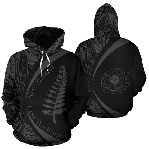 New Zealand Anzac Hoodie, Lest We Forget Maori Pullover Hoodie J95 - 1st New Zealand
