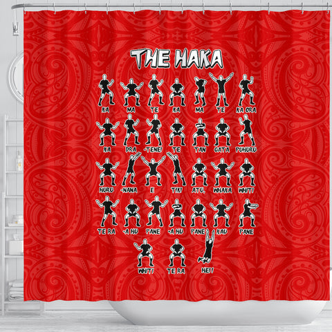 Rugby Haka Dance Shower Curtain Red K40