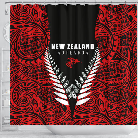 Image of New Zealand Aotearoa Silver Fern Shower Curtain - Red Vline Version K40