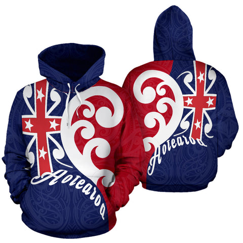 Koru Aotearoa Flag Hoodie - Navy And Red Color - For Man And Woman