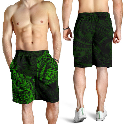 New Zealand Maori Polynesian Wolf Dragon Tattoo Men Shorts - Green K4 - 1st New Zealand