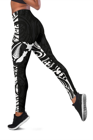 Aotearoa Maori With Map And Silver Fern Leggings - Front Half Style TH5 - 1st New Zealand