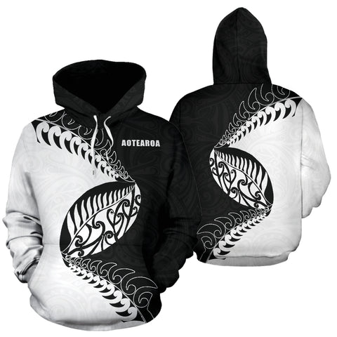 Aotearoa Rugby Fern Hoodie Black White K4 - 1st New Zealand