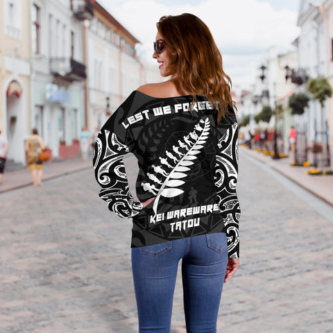 Anzac Tattoo New Zealand, Lest We Forget Off Shoulder Sweater K5 - 1st New Zealand