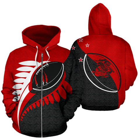 Claws on Rugby Ball Zip Up Hoodie Red K6 - 1st New Zealand