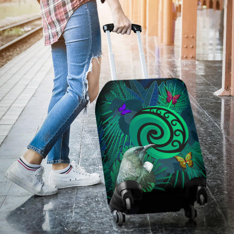 New Zealand Luggage Covers Koru Fern Mix Tui Bird - Tropical Floral Turquoise K4