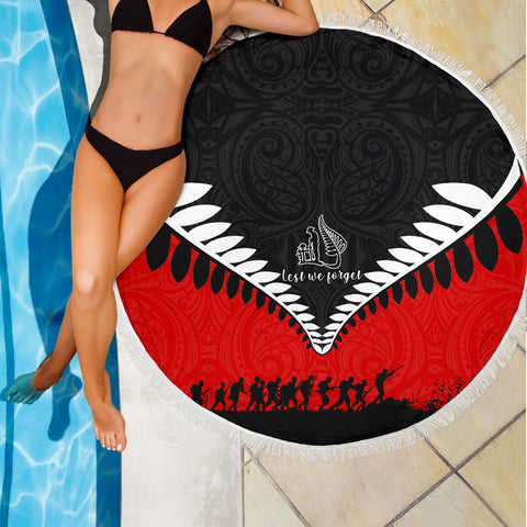 Beach Blanket NZ Lest We Forget Black Red K4 - 1st New Zealand
