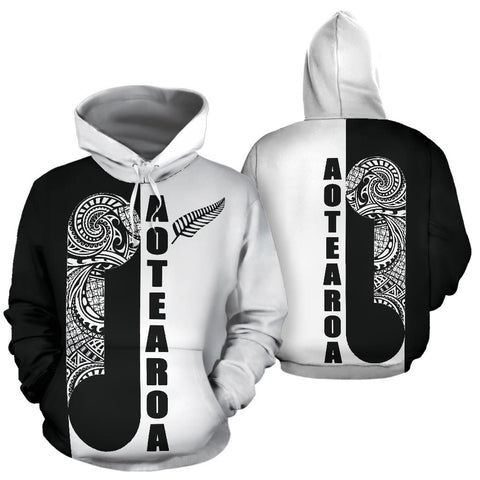 Maori Koru Aotearoa Hoodie Black White - For Man And Woman